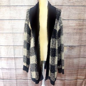 Anthropologie Leith Black Check Knit Cardigan